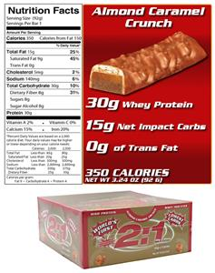 2:1 Protein Bar Almond Caramel Crunch 12 Bars