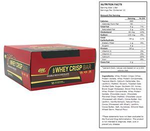 Optimum Nutrition 100%Whey Crisp Bar Dbl Rich Choc