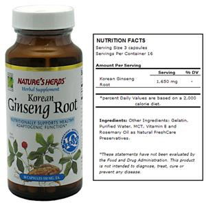 Nature&#39;s Herbs Korean Ginseng Root Supplement