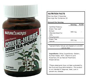 Nature&#39;s Herbs Power-Herbs Green Tea-Power Suppl.