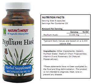 Nature's Herbs Psyllium Husk Dietary Fiber Supp.
