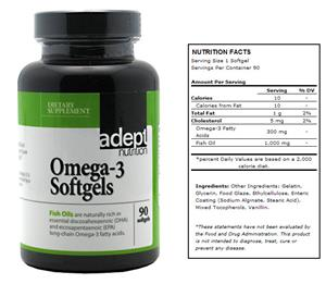 Adept Omega-3 Softgels Fish Oil Supplement