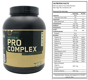 Optimum Nutrition Natural Pro Complex-Choc 4.6lb
