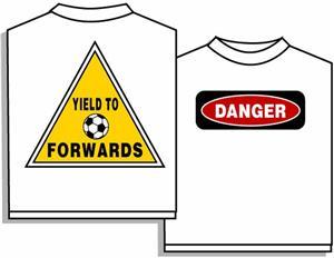 Closeout-Soccer Danger Forward soccer tshirt