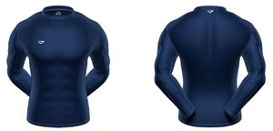 KZONE Warm Long Sleeve Shirt Tight Fit Navy