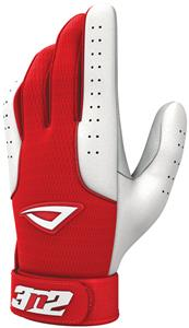 3n2 Sheepskin Leather Pro Bat Gloves Red/White