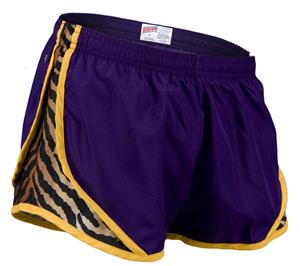 Soffe Jr. Tiger Print 3 1/4&quot; Shorty Shorts Purple
