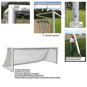 8x24 World Class 40 Elite-SP Alum. Soccer Goals