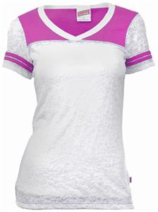 Soffe V-Neck Burn Out Football PINK T-Shirt