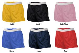 Soffe Girls Mesh Shorts Exposed Waistband 6 Colors