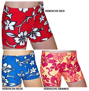 Spandex 3&quot; Sports Shorts - Hibiscus Print