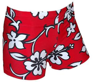 Spandex 4&quot; Sports Shorts - Hibiscus Print
