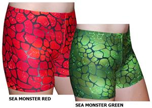 "Plangea Spandex 4"" Sports Shorts-Sea Monster Print"