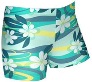 Spandex 4&quot; Sports Shorts - Plumeria Print