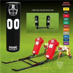 Fisher 2 Man Football Brute Sleds w/ Round Pads