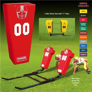 """Fisher 2 Man Football Brute Sleds w/ """"V"""" Pads"""