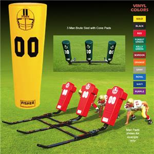 Fisher 3 Man Football Brute Sleds w/ Cone Pads