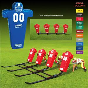 Fisher 4 Man Football Brute Sleds w/ Man Pads