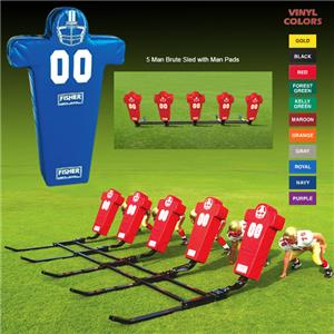 Fisher 5 Man Football Brute Sleds w/ Man Pads