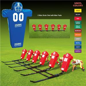 Fisher 6 Man Football Brute Sleds w/ Man Pads