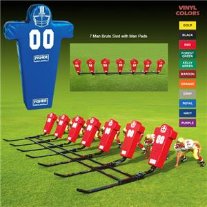 Fisher 7 Man Football Brute Sleds w/ Man Pads