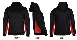 Badger BT5 Fleece Black/Red Hooded Pullovers