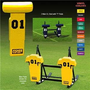 """Fisher 2 Man Football CL Sleds w/ """"T"""" Pads"""