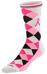Breast Cancer Ribbon Argyle Socks (1-Pair)