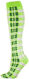 Red Lion Fluorescent Green Plaid Socks