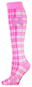 Red Lion Cancer Plaid Pink Ribbon Socks (1-Pair)