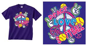 Image Sport Peace Love Softball T-shirts