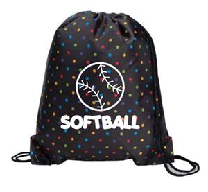 Black Softball Polka Dot Drawstring Backpack