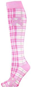 Cancer Awareness Plaid Pink Ribbon Socks (12+)