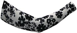 Svforza Womens White w/Black Flowers Sleeve Warmer