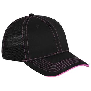 Pacific Headwear 355M Black/Pink Mesh Baseball Cap