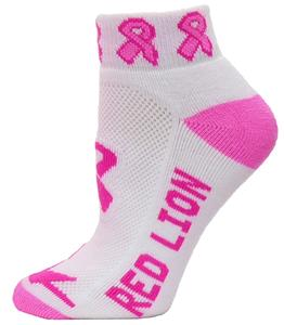 Cancer Awareness Wht/Pink Ribbon Footies Socks