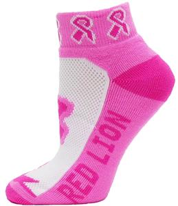 Red Lion Cancer Awareness Pink Ribbon Socks