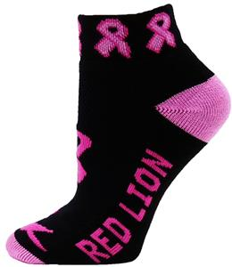 Cancer Awareness Black/Pink Ribbon Footies Socks