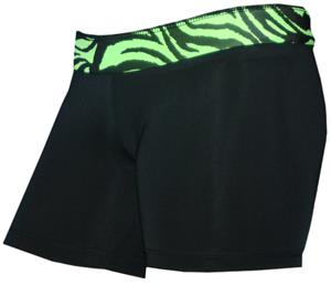 "Black/Green Zebra 6"" Compression Shorts"