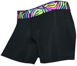 Black/Neon Zig Zag 4&quot; Compression Shorts