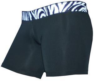 Black/Black White Zebra 6&quot; Compression Shorts