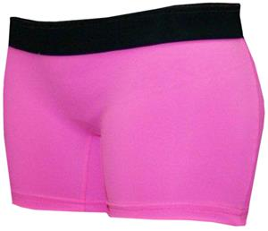 Neon Pink/Black Band 4&quot; Compression Shorts