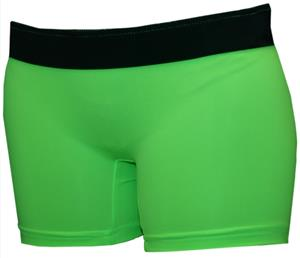 Neon Green/Black Band 4&quot; Compression Shorts