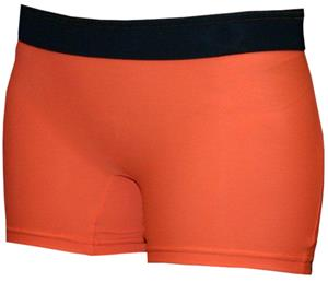 Neon Orange/Black Band 4&quot; Compression Shorts