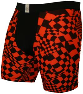 "Neon Orange Racing Flag 9"" Mens Compression Shorts"