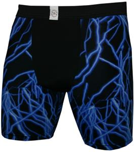 "Blue Lightning Bolt 9"" Mens Compression Shorts"