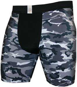 "Black White Camouflage 9"" Mens Compression Shorts"