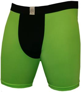"Black Neon Green 9"" Mens Compression Shorts"