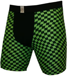 "Black Green Checkers 9"" Mens Compression Shorts"