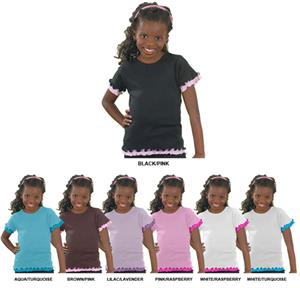 LAT Sportswear Girls Baby Rib Double Ruffle Tees